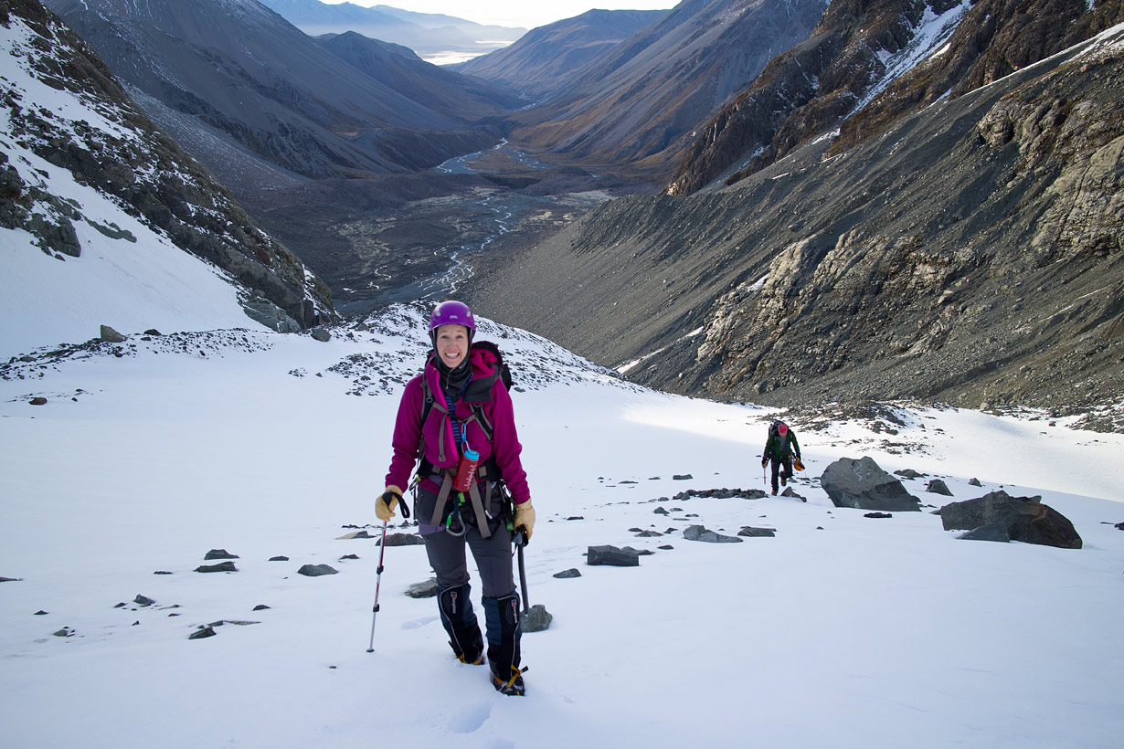 Hiking up the Cameron Glacier