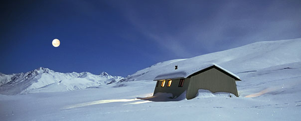 Rex Simpson Hut is a cosy base for snowshoeing