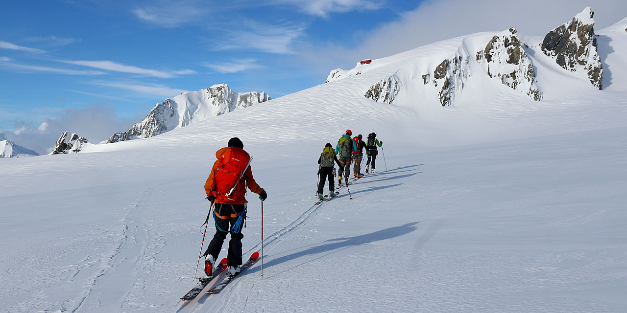 Skinning back to Centennial Hut